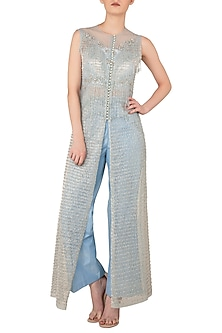 Blue Front Open Embroidered Kurta with Straight Pants by Rozina