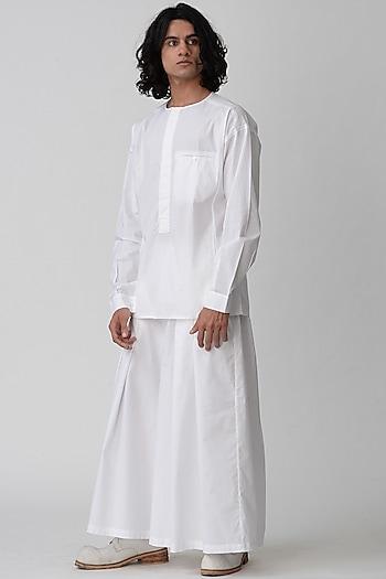 White Round Neck Shirt by Rajesh Pratap Singh Men