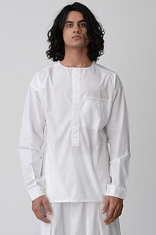 White Round Neck Shirt by Rajesh Pratap Singh Men