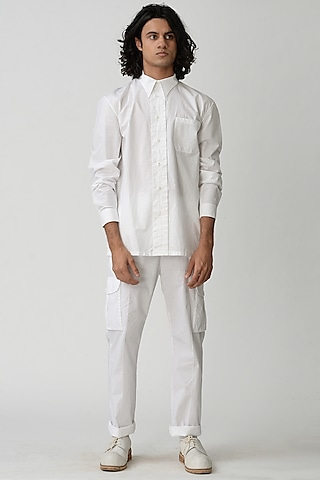 White Collared Shirt by Rajesh Pratap Singh Men