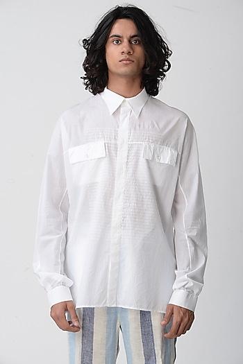 White Collared Shirt With Pockets by Rajesh Pratap Singh Men