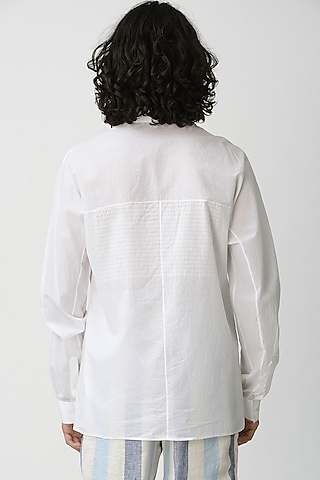 White Collared Shirt With Pockets by Rajesh Pratap Singh Men