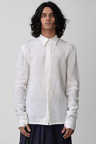 White Shirt With Biker Sleeves by Rajesh Pratap Singh Men