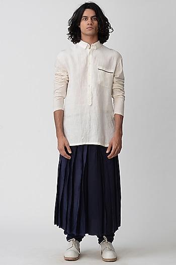 Beige Shirt With Half Placket by Rajesh Pratap Singh Men