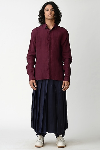 Wine Shirt With Concealed Placket by Rajesh Pratap Singh Men