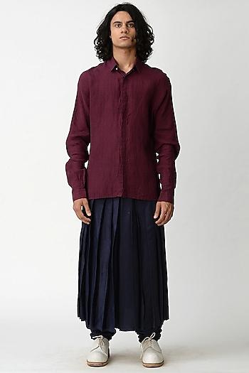 Wine Shirt With Concealed Placket by Rajesh Pratap Singh Men