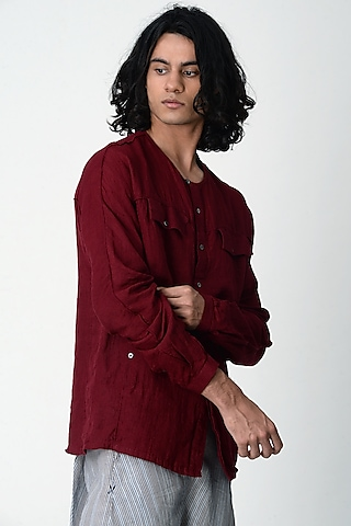 Maroon Shirt With Pockets by Rajesh Pratap Singh Men