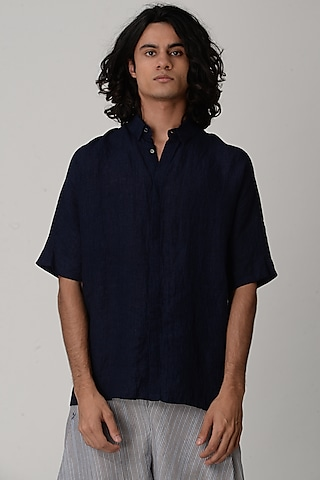 Indigo Blue Shirt With Half Sleeves by Rajesh Pratap Singh Men