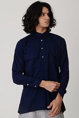 Indigo Blue Collared Shirt by Rajesh Pratap Singh Men