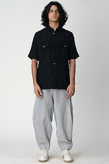 Black Shirt With Pocket by Rajesh Pratap Singh Men