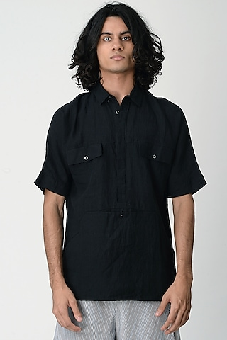 Black Shirt With Pocket by Rajesh Pratap Singh Men