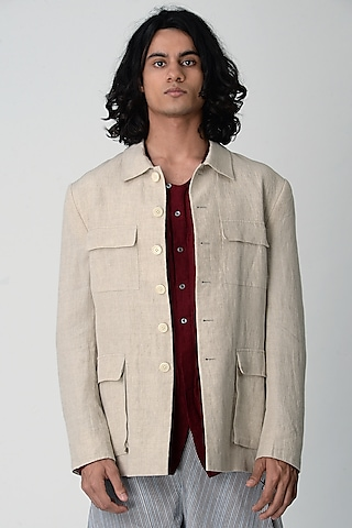 Beige Jacket With Four Pockets by Rajesh Pratap Singh Men