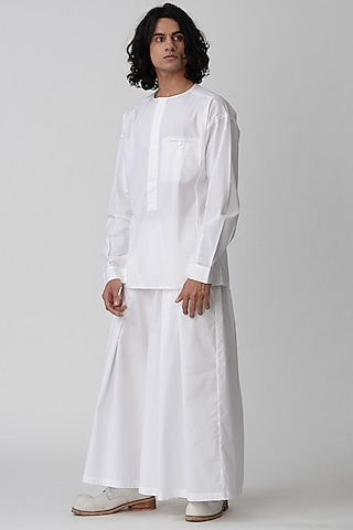 White Wide Legged Kimono Pants by Rajesh Pratap Singh Men