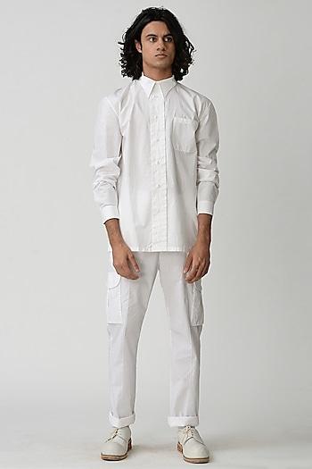 White Tapered Pants by Rajesh Pratap Singh Men