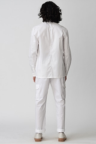 White Tapered Pants by Rajesh Pratap Singh Men