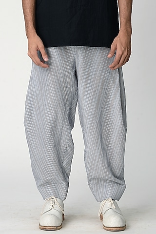 Grey Striped Salwar Pants by Rajesh Pratap Singh Men