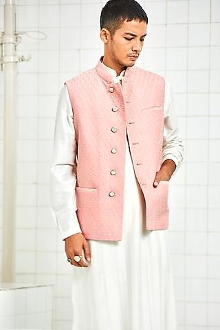 Pink 3D Textured Quilted Waistcoat by Rajesh Pratap Singh Men