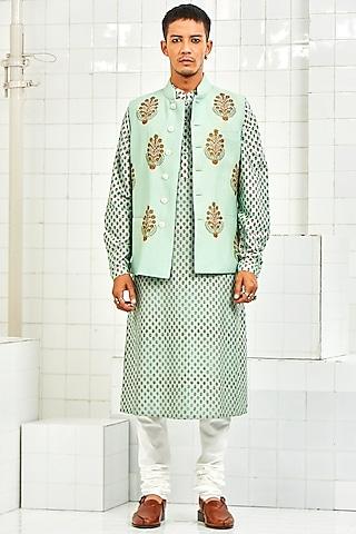 Mint Pintucked Waistcoat With Handmade Motifs by Rajesh Pratap Singh Men