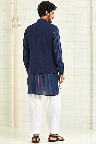 Navy Blue Handwoven & Textured Waistcoat by Rajesh Pratap Singh Men