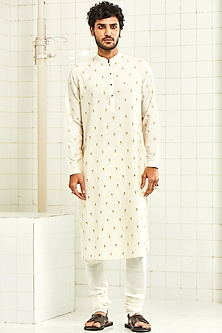 White Embroidered Pintucked Kurta With Buttons by Rajesh Pratap Singh Men