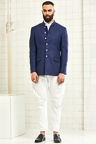 Navy Blue Textured Bandhgala Jacket by Rajesh Pratap Singh Men