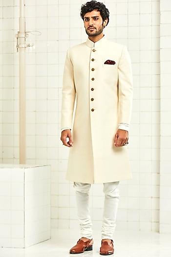 Ivory Quilted Textured Sherwani by Rajesh Pratap Singh Men