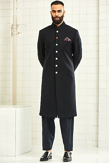 Black Brocade Sherwani With Pocket Square by Rajesh Pratap Singh Men