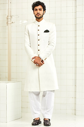 Ivory Handloom Cotton Textured Sherwani by Rajesh Pratap Singh Men