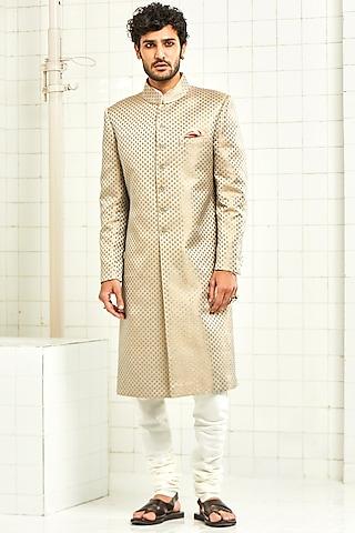 Grey Handloom Brocade Sherwani by Rajesh Pratap Singh Men