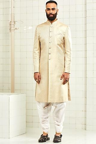 Ivory Handloom Brocade Sherwani by Rajesh Pratap Singh Men