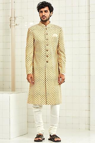 Beige Motifs Pintucked Sherwani by Rajesh Pratap Singh Men
