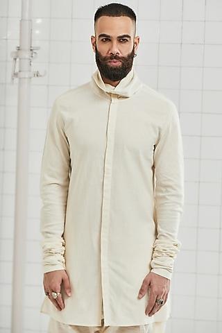 Ivory Cotton Cowl Tunic by Rajesh Pratap Singh Men