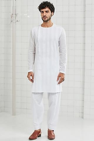 White Cotton Pleated Tunic by Rajesh Pratap Singh Men
