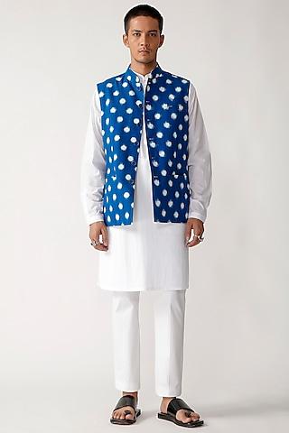 Blue Cotton Ikat Reversible Waistcoat by Rajesh Pratap Singh Men