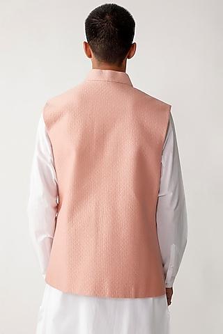Pink Viscose Waistcoat by Rajesh Pratap Singh Men