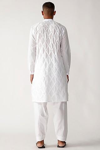 White Cotton Patchwork Kurta Set by Rajesh Pratap Singh Men