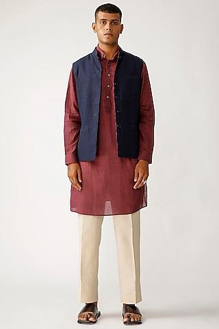 Indigo Cotton & Linen Reversible Waistcoat by Rajesh Pratap Singh Men