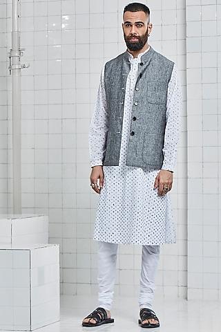 Grey Linen Reversible Waistcoat by Rajesh Pratap Singh Men