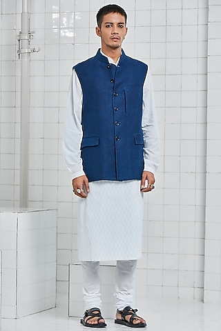 Indigo Linen Waistcoat With Welt Pockets by Rajesh Pratap Singh Men