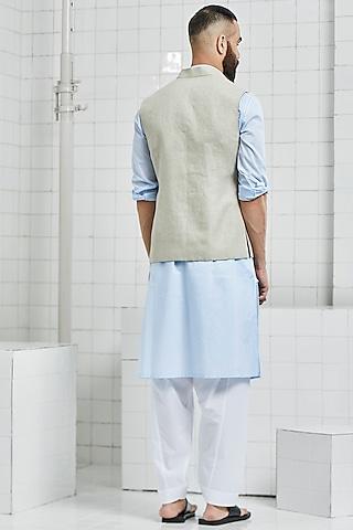 Beige Linen Reversible Waistcoat by Rajesh Pratap Singh Men