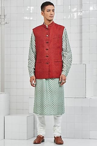 Red Hand Block Printed Reversible Waistcoat by Rajesh Pratap Singh Men