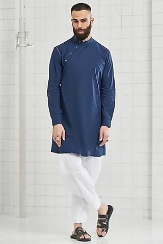 Blue Asymmetrical Tunic by Rajesh Pratap Singh Men