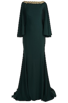Dark Green Embroidered Fishtail Gown With Attached Cape by RS by Rippii Sethi