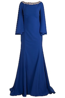 Blue Embroidered Fishtail Gown With Attached Cape by RS by Rippii Sethi