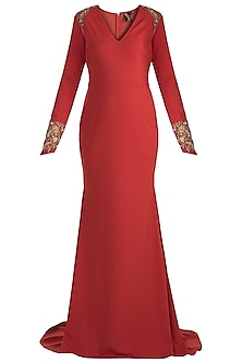 Brick Red Embroidered Fishtail Gown by RS by Rippii Sethi