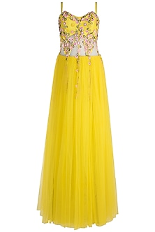 Lemon Yellow Embroidered Corset Gown by RS by Rippii Sethi