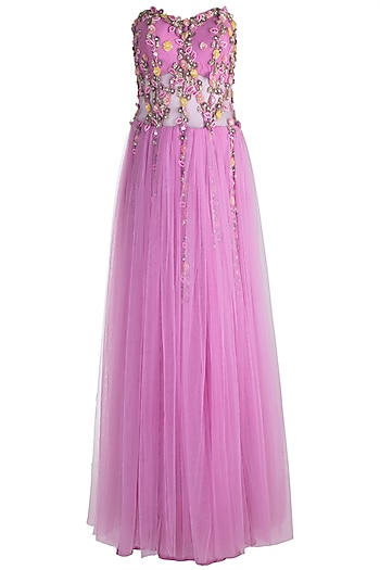 Lavender Embroidered & Feathered Gown by RS by Rippii Sethi