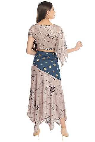 Beige Embroidered Top & Skirt by RS by Rippii Sethi