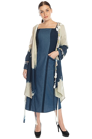 Cobalt Blue Midi Dress With Beige Shrug by RS by Rippii Sethi