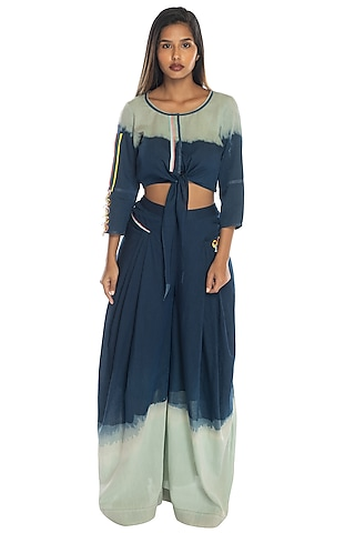 Cobalt Blue Printed Top & Palazzo Pants by RS by Rippii Sethi